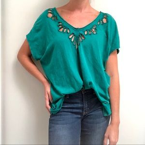 Free People Oversized blouse cut out boho teal M